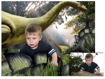 Dinosaur Forest Magical Portrait - A fun background - What little boy doesn't dream of being surrounded by dinosaurs?