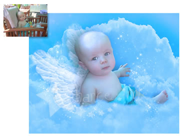 Angel Baby Magical Portrait - A beautiful background for your little boy! Great for birth announcements!