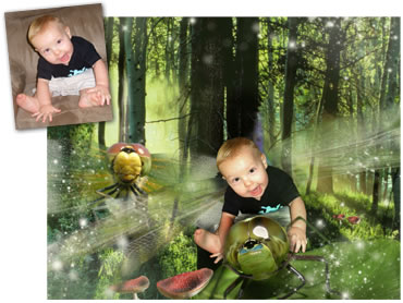 NEW - Dragonfly Flight Magical Portrait - An action packed background for your little boy!
