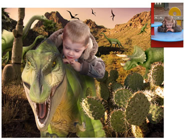 Dinosaur Valley Magical Portrait - A fun background for your little boy!