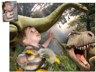 Dinosaur Forest Magical Portrait - A fun background for your little boy!