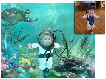 NEW - Deep Sea Diver Magical Portrait - A fun background for your little boy!