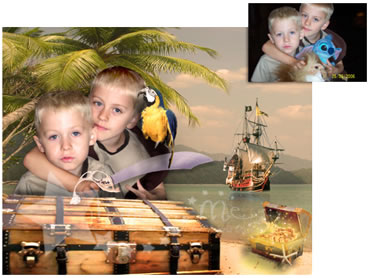 Pirate Island Magical Portrait - Uhaar me hearties! A fun background for your little boy!