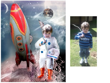 NEW - Space Travel  Magical Portrait - A fun background for your little boy!