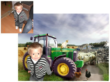 On the Farm - a fun background for your little boy!