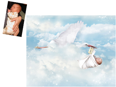 Special Delivery Magical Photo Portrait - Perfect for a new babies arrival, on christening cards, invites, thank you notes and more! WIll suit boy or girl and colours can be changed to suit.