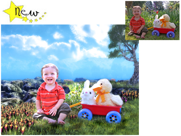 NEW Spring theme Magical Photo Portrait - Alpine Spring - This lovely bright theme works well for boys and girls!
