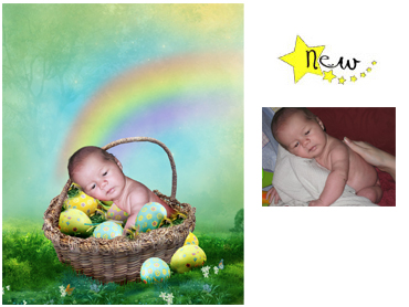 NEW Easter theme magical Photo Portrait - Easter Gift - This lovely bright theme works particularly well for babies but can be created using an older child sitting behind the basket making it appear that they are egg collecting.