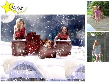 NEW - the Chimney Tops Magical Portrait - A wonderfully fun enchanting background. The children will LOVE this one! Perfect for a Unique Christmas card greeting!