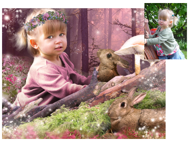 Spring / Easter theme Magical Photo Portrait - Among The Rabbits - I can change the colours. This theme works well for boys and girls!