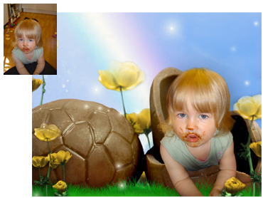 Easter Magical Photo Portrait theme - Chocolate Egg - This fun theme works well for boys and girls and there can be more than one child in it!