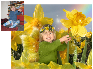 Spring theme Magical Photo Portrait - Daffodil Fairy/Elf - I can change the flowers. This theme works well for boys and girls!