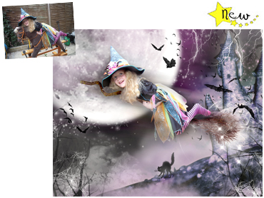 Halloween themed Magical Photo Portrait - Spooky Flight - Great fun theme for halloween.