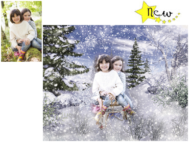 NEW - Sledding Magical Portrait - A wonderfully fun enchanting background. The children will LOVE this one! Perfect for a Unique Christmas card greeting!