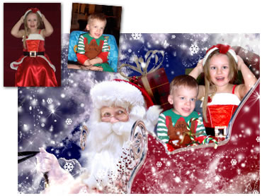 Santas Sleigh Magical Portrait - A wonderfully fun enchanting background. The children will LOVE this one! - Perfect for a Unique Christmas card greeting!