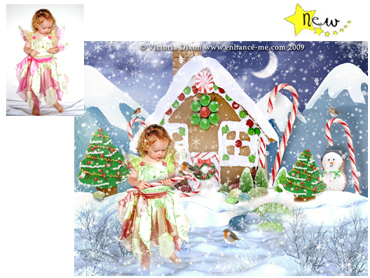 NEW - Gingerbread House Magical Portrait - A wonderfully fun enchanting background. The perfect Christmas portrait, without the hassle! - Perfect for a Unique Christmas card greeting!