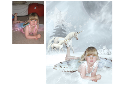 Unicorn Fairy Magical Portrait ~ A beautifully enchanting background to delight any little girl! - Perfect for a Unique Christmas card greeting!