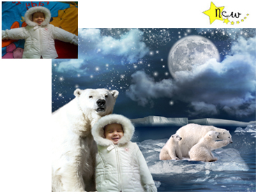 NEW - The Arctic Magical Portrait - A wonderfully fun enchanting background. The children will LOVE this one! Perfect for a Unique Christmas card greeting!