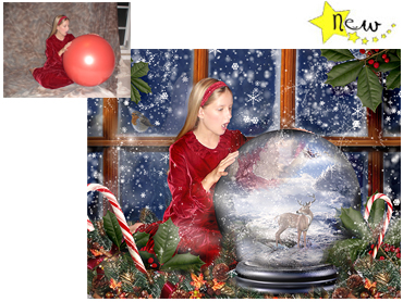 NEW - The Christmas Globe Magical Portrait - A wonderfully fun enchanting background. The children will LOVE this one! Perfect for a Unique Christmas card greeting!