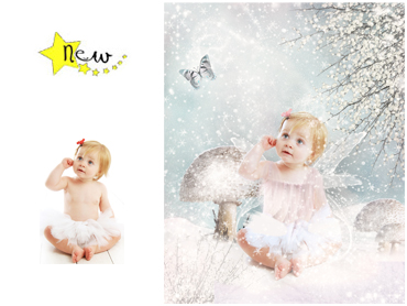 NEW - Winter Butterfly Magical Portrait - A wonderfully fun enchanting background. The children will LOVE this one! Perfect for a Unique Christmas card greeting!