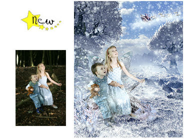 NEW - Winter Wonderland Magical Portrait - A wonderfully fun enchanting background. The children will LOVE this one! Perfect for a Unique Christmas card greeting!